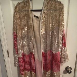 Boohoo All over embellished sequin kimono